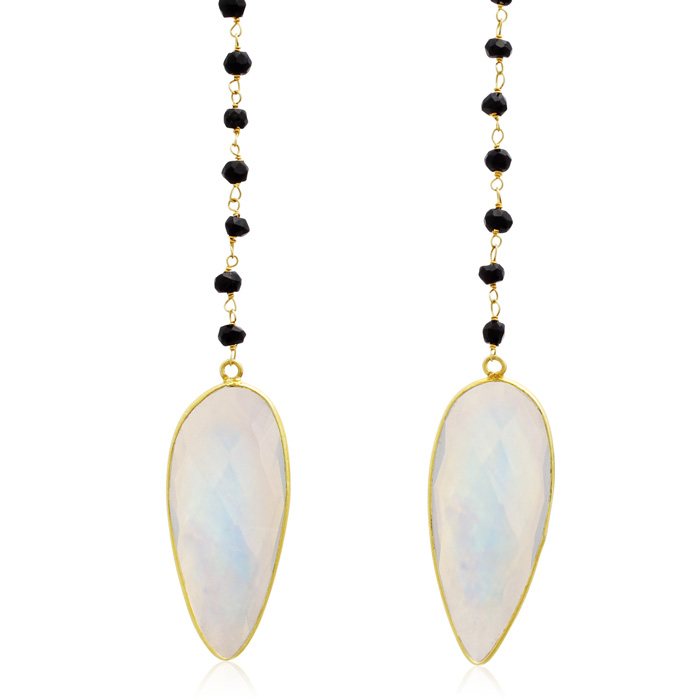 Image of 99 Carat Pear Shape Moonstone and Black Onyx Open Layer Necklace In 14 Karat Yellow Gold, 38 Inches