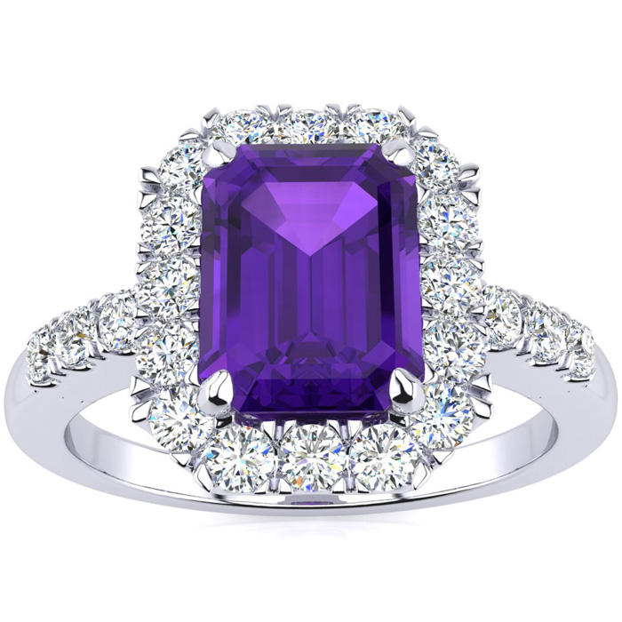 2 Carat Emerald Cut Amethyst and Halo Diamond Ring In 14 Karat White Gold