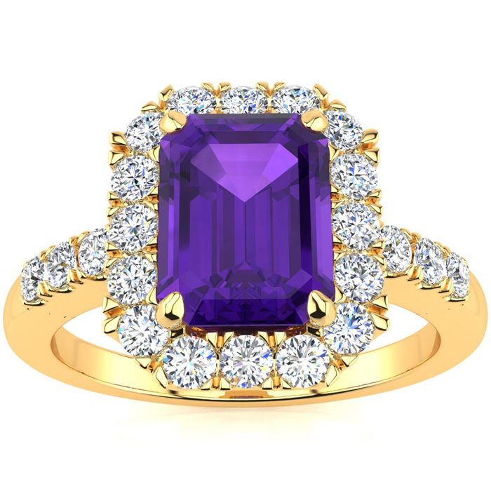 2 Carat Emerald Cut Amethyst and Halo Diamond Ring In 14 Karat Yellow Gold