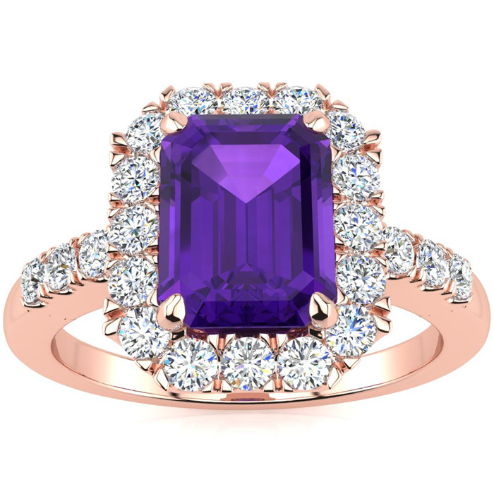 2 Carat Emerald Cut Amethyst and Halo Diamond Ring In 14 Karat Rose Gold