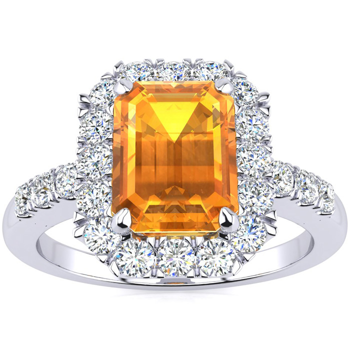 2 Carat Emerald Cut Citrine and Halo Diamond Ring In 14 Karat White Gold