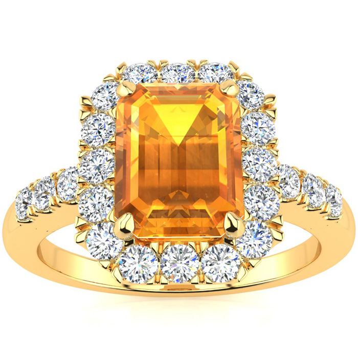 2 Carat Emerald Cut Citrine and Halo Diamond Ring In 14 Karat Yellow Gold