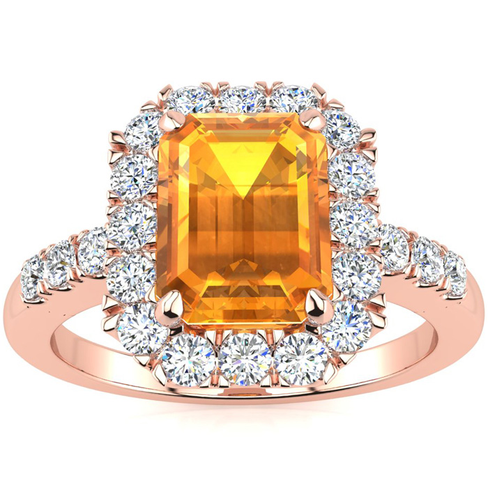 2 Carat Emerald Cut Citrine and Halo Diamond Ring In 14 Karat Rose Gold