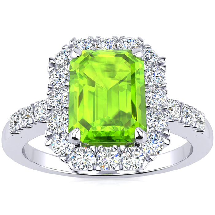 2 1/4 Carat Emerald Cut Peridot and Halo Diamond Ring In 14 Karat White Gold