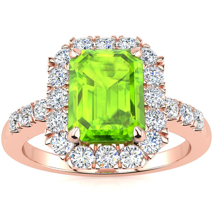 2 1/4 Carat Emerald Cut Peridot and Halo Diamond Ring In 14 Karat Rose Gold