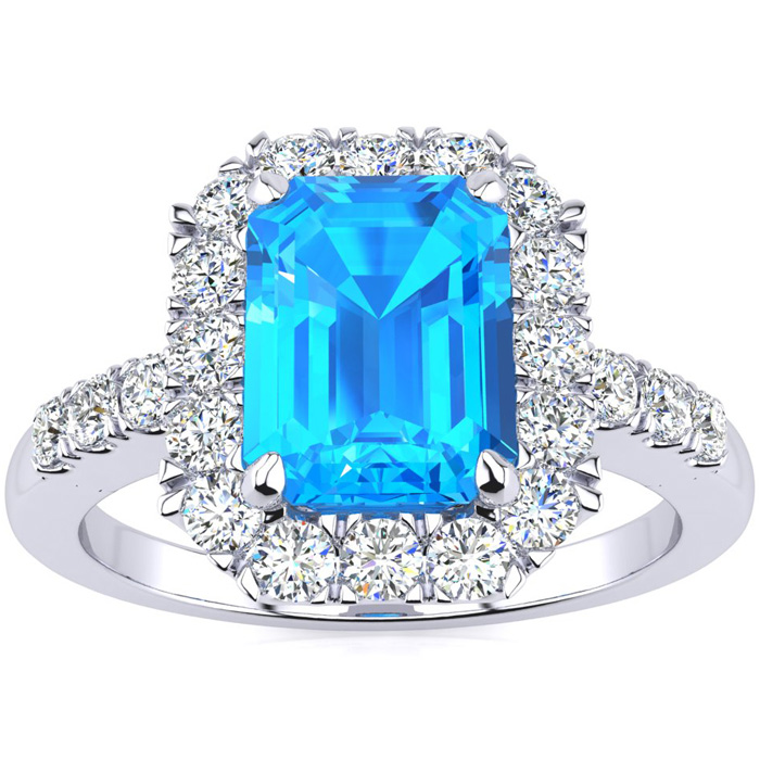 2 1/2 Carat Emerald Cut Blue Topaz and Halo Diamond Ring In 14 Karat White Gold