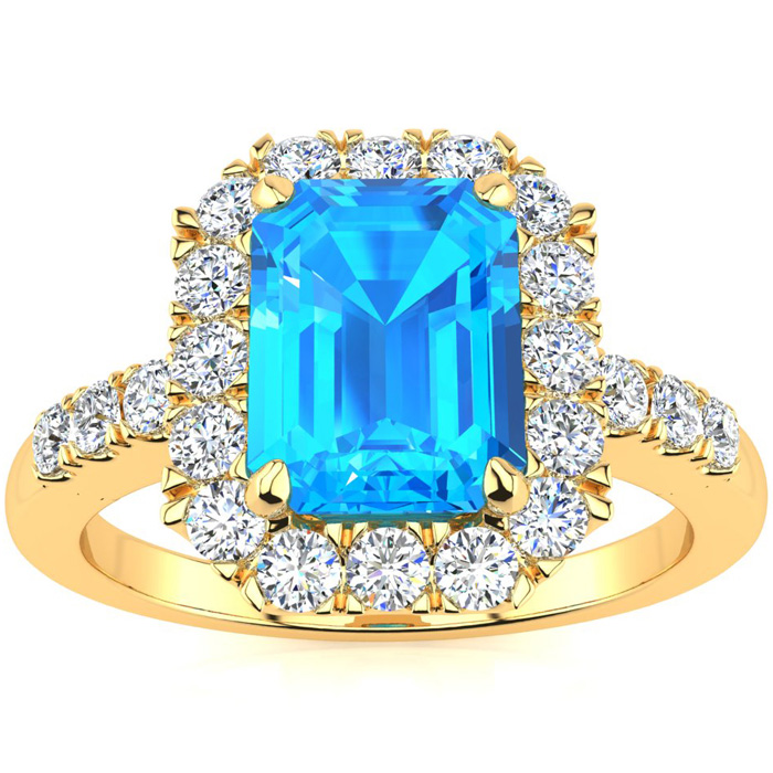 2 1/2 Carat Emerald Cut Blue Topaz and Halo Diamond Ring In 14 Karat Yellow Gold