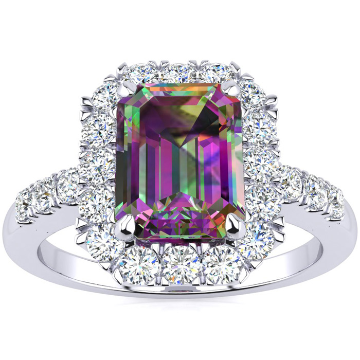 2 Carat Emerald Cut Mystic Topaz and Halo Diamond Ring In 14 Karat White Gold