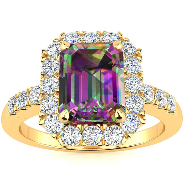2 Carat Emerald Cut Mystic Topaz and Halo Diamond Ring In 14 Karat Yellow Gold