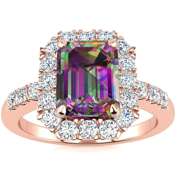 2 Carat Mystic Topaz & Halo Diamond Ring in 14K Rose Gold (5 g), I/J by SuperJeweler