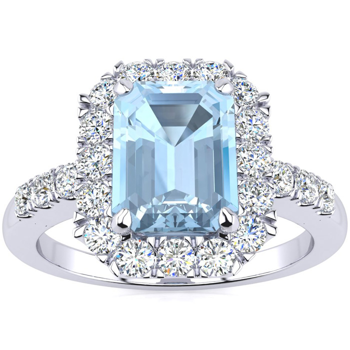 2 Carat Emerald Cut Aquamarine and Halo Diamond Ring In 14 Karat White Gold