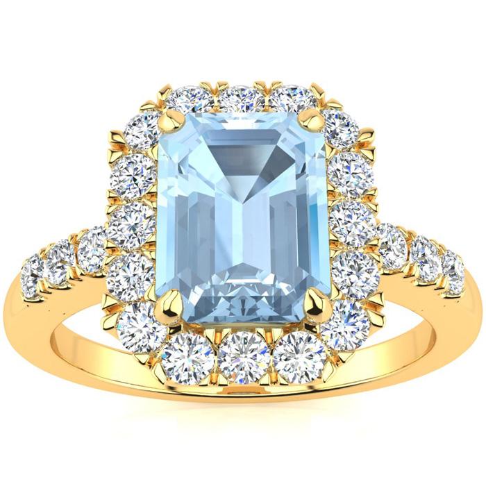 2 Carat Emerald Cut Aquamarine and Halo Diamond Ring In 14 Karat Yellow Gold