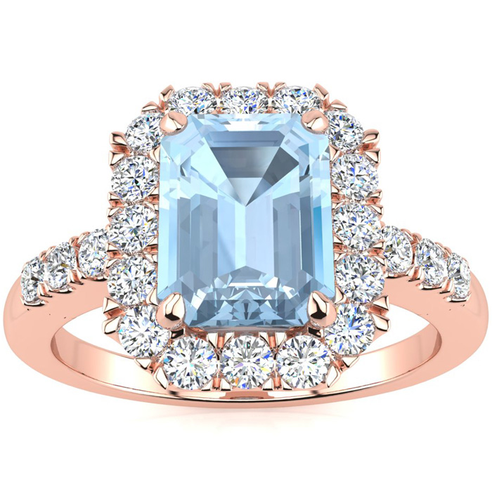 2 Carat Emerald Cut Aquamarine and Halo Diamond Ring In 14 Karat Rose Gold