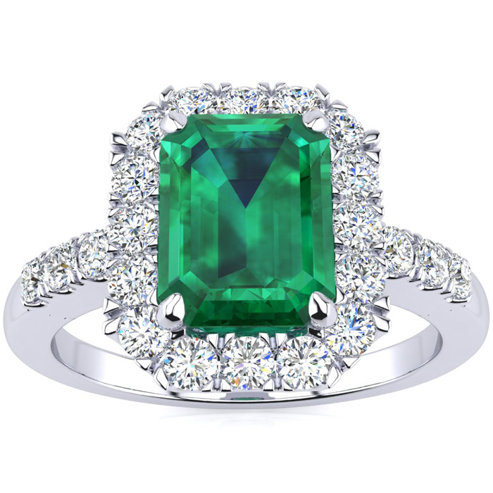2 Carat Emerald Cut Emerald and Halo Diamond Ring In 14 Karat White Gold