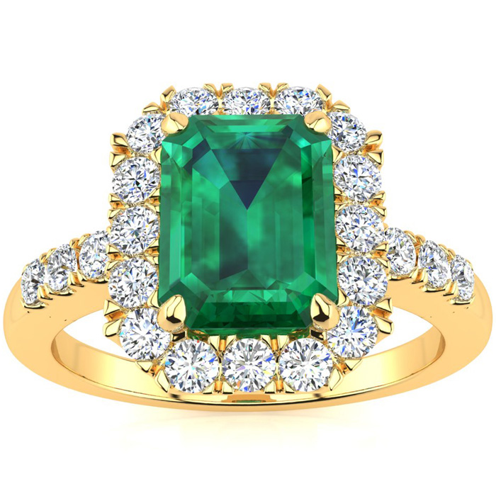 2 Carat Emerald Cut Emerald and Halo Diamond Ring In 14 Karat Yellow Gold