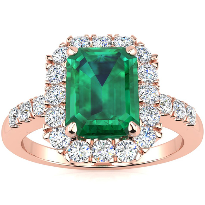 2 Carat Emerald Cut Emerald and Halo Diamond Ring In 14 Karat Rose Gold