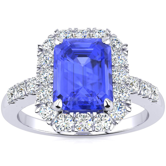 2 1/4 Carat Emerald Cut Tanzanite and Halo Diamond Ring In 14 Karat White Gold