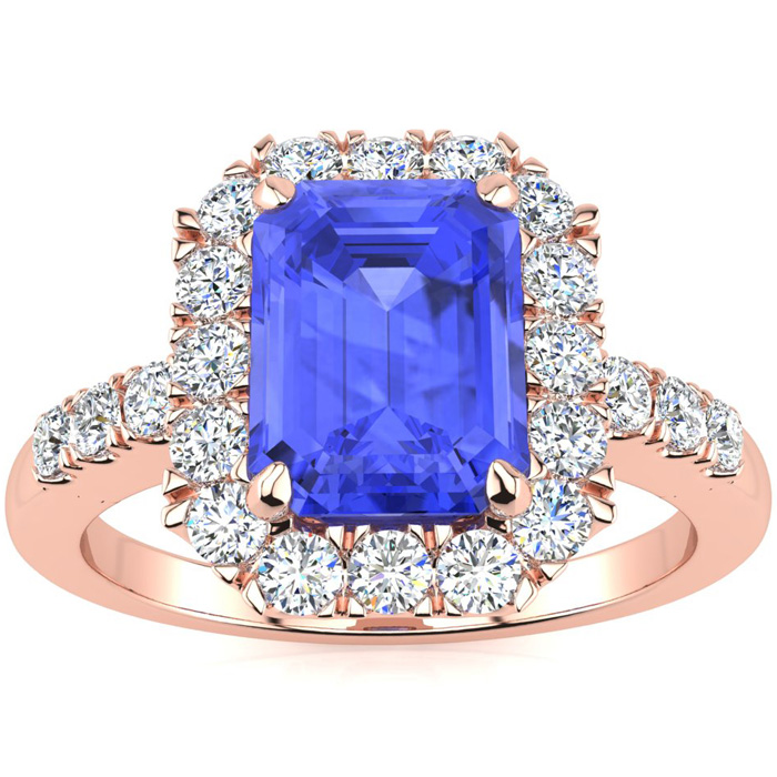 2 1/4 Carat Emerald Cut Tanzanite and Halo Diamond Ring In 14 Karat Rose Gold