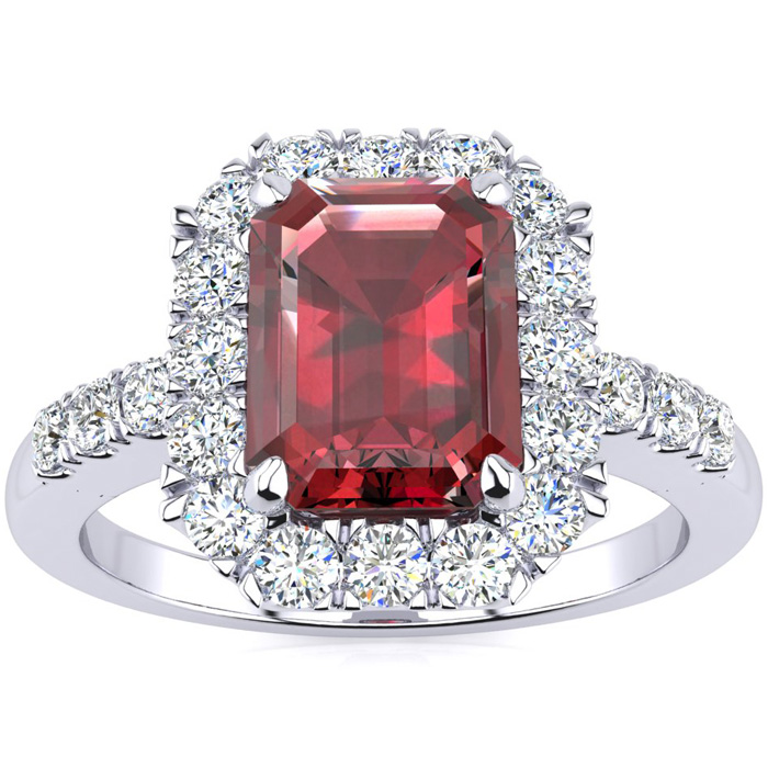 2 1/2 Carat Emerald Cut Garnet and Halo Diamond Ring In 14 Karat White Gold