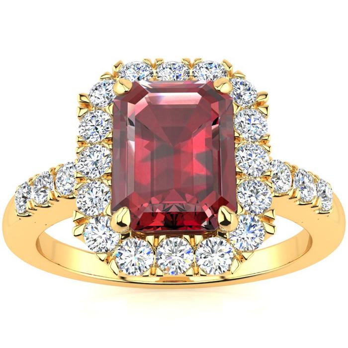 2 1/2 Carat Emerald Cut Garnet and Halo Diamond Ring In 14 Karat Yellow Gold
