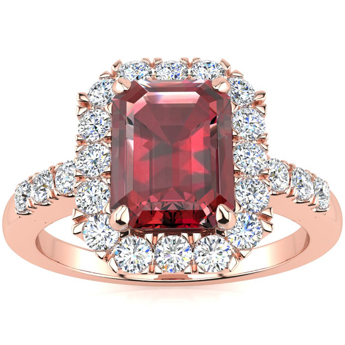 2 1/2 Carat Emerald Cut Garnet and Halo Diamond Ring In 14 Karat Rose Gold