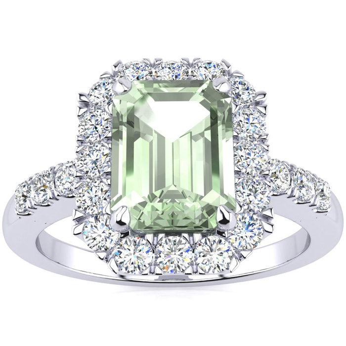 2 Carat Emerald Cut Green Amethyst and Halo Diamond Ring In 14 Karat White Gold