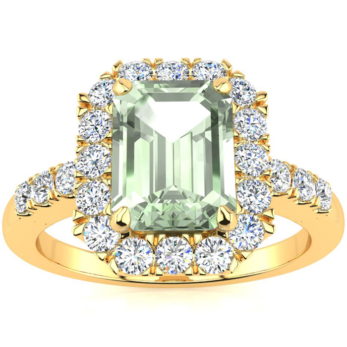 2 Carat Emerald Cut Green Amethyst and Halo Diamond Ring In 14 Karat Yellow Gold
