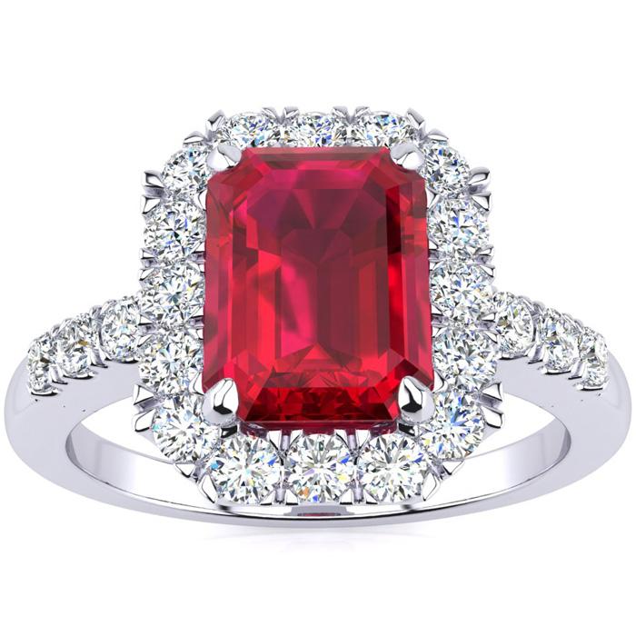 2 3/4 Carat Ruby & Halo Diamond Ring in 14K White Gold (5 g), I/J