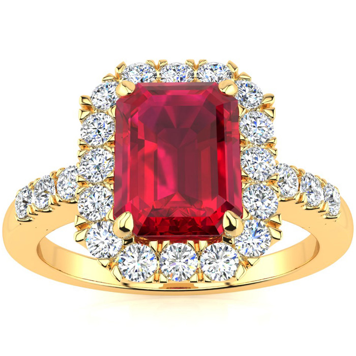 2 3/4 Carat Emerald Cut Ruby and Halo Diamond Ring In 14 Karat Yellow Gold