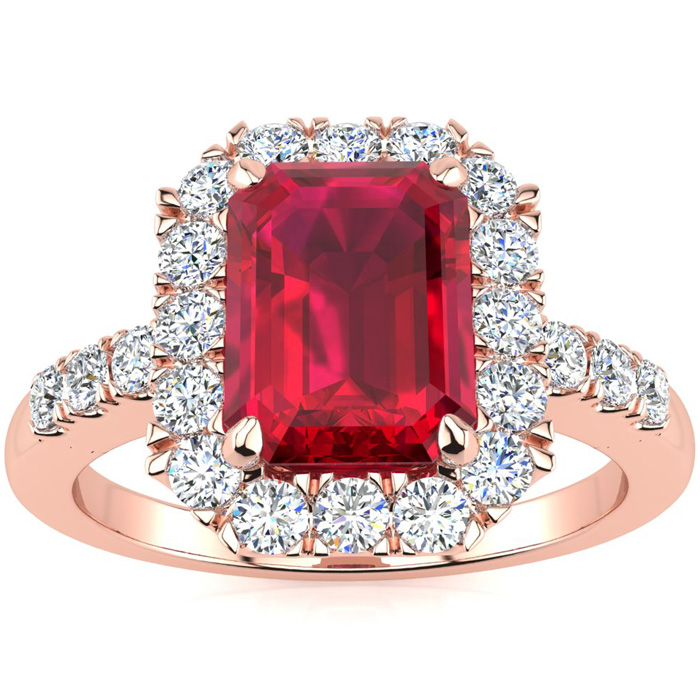 2 3/4 Carat Emerald Cut Ruby and Halo Diamond Ring In 14 Karat Rose Gold