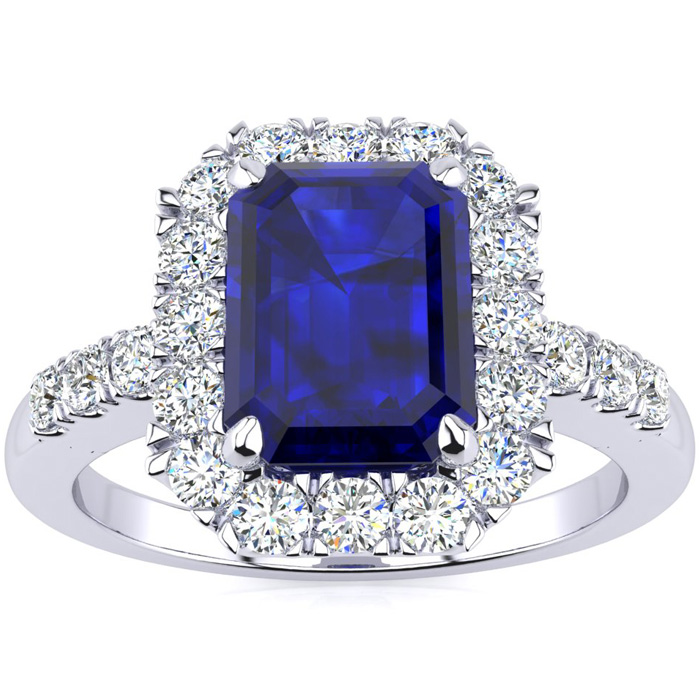 2 3/4 Carat Emerald Cut Sapphire and Halo Diamond Ring In 14 Karat White Gold
