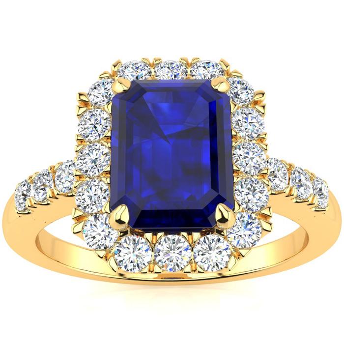2 3/4 Carat Sapphire & Halo Diamond Ring in 14K Yellow Gold (5 g)