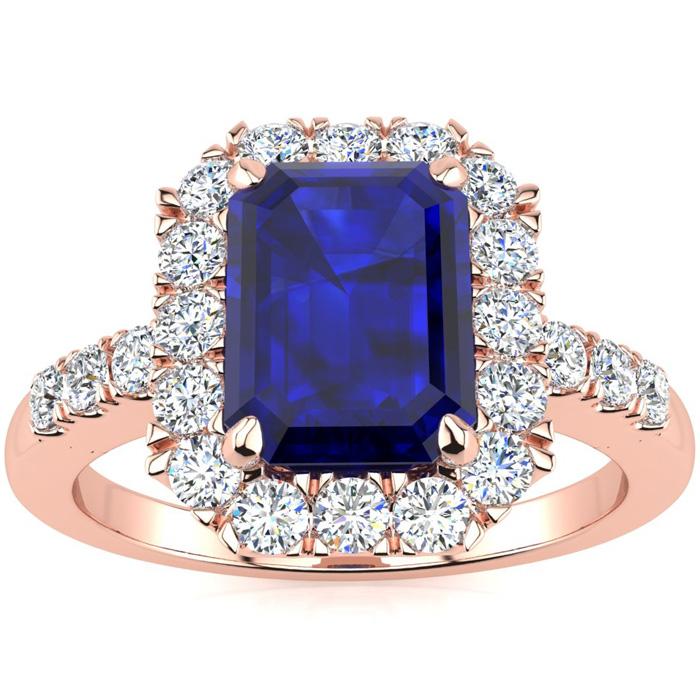 2 3/4 Carat Sapphire & Halo Diamond Ring in 14K Rose Gold (5 g),
