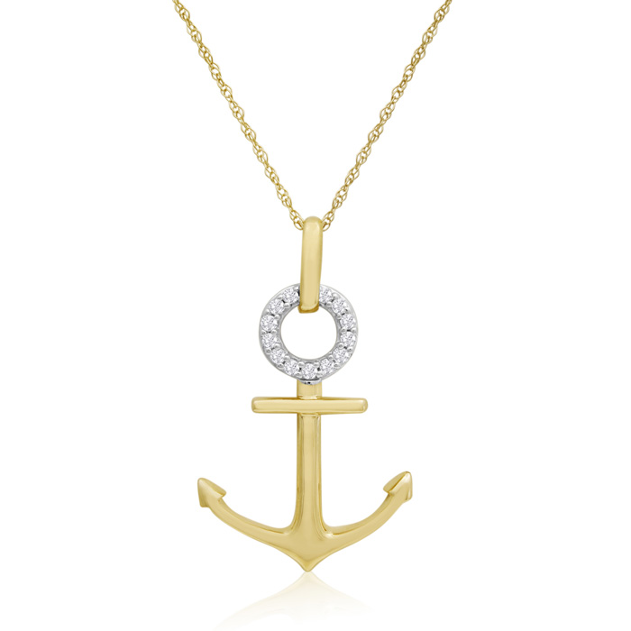10K Yellow Gold 0.16 Carat Diamond Anchor Necklace, 18 Inches10K Yellow Gold 0.16 Carat Diamond Anchor Necklace, 18 Inches10K Yellow Gold 0.16 Carat Diamond Anchor Necklace, 18 Inches