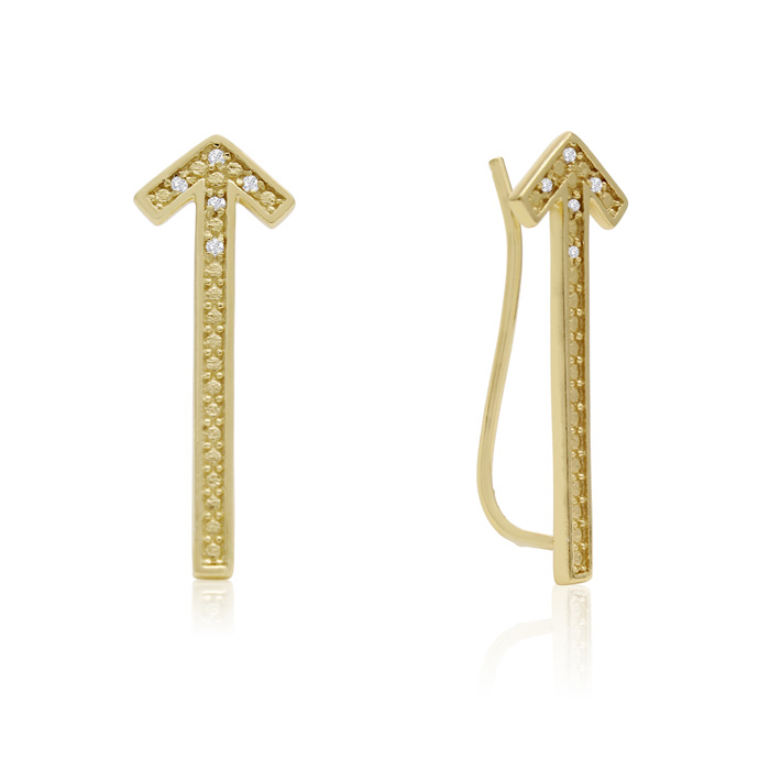 Diamond Accent Arrow Ear Climbers in Gold, I/J in Sterling Silver