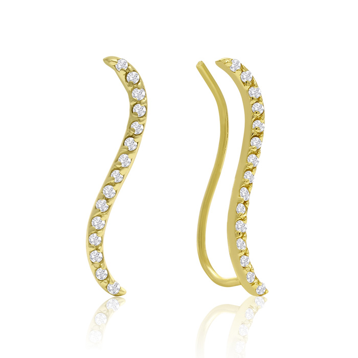 1/4 Carat Diamond Swirl Ear Climbers in Gold, I/J in Sterling Silver by SuperJeweler