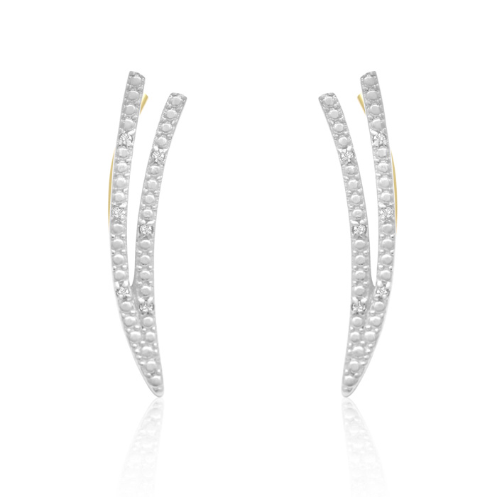 Diamond Accent Double Row Ear Climbers in Gold, I/J in Sterling S