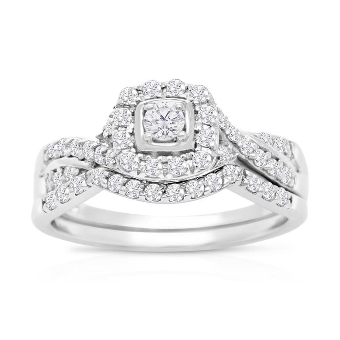 1/2 Carat Halo Diamond Bridal Ring Set in 14K White Gold (3.7 g) (H-I, SI2-I1) by SuperJeweler
