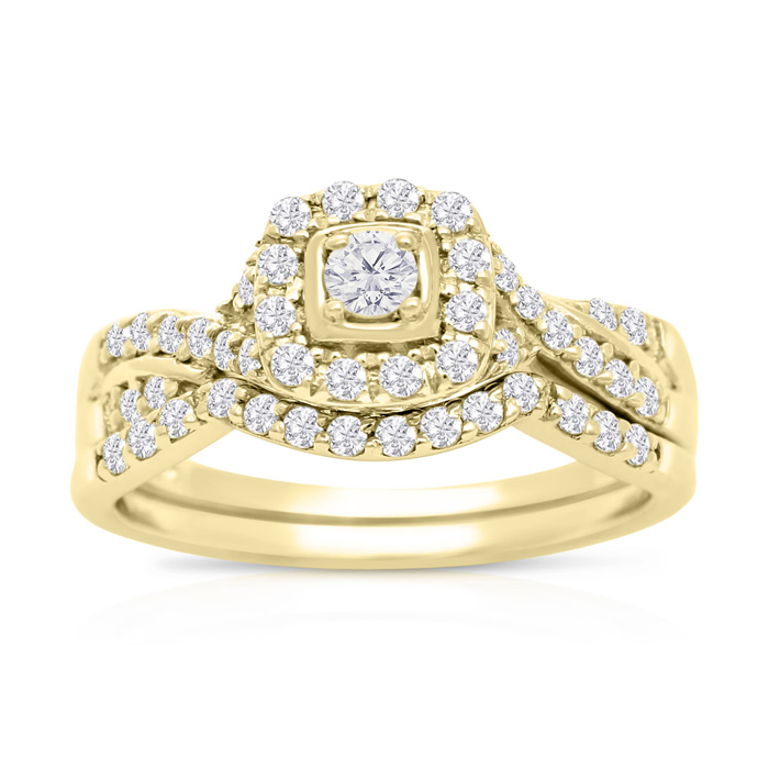 1/2 Carat Halo Diamond Bridal Ring Set in 14K Yellow Gold (3.7 g) (H-I, SI2-I1) by SuperJeweler