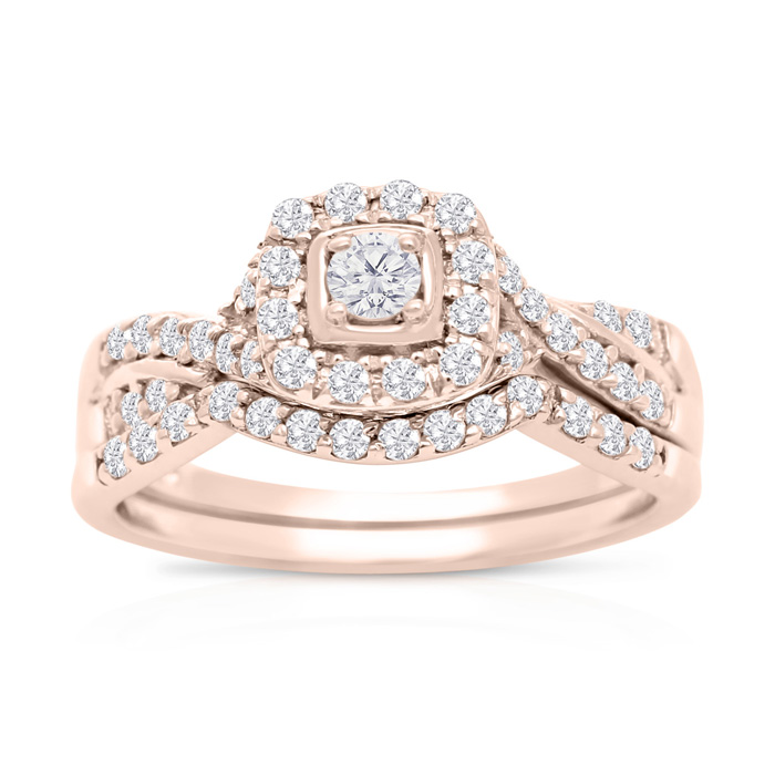 1/2 Carat Halo Diamond Bridal Ring Set in 14k Rose Gold (3.7 g) (H-I, SI2-I1) by SuperJeweler