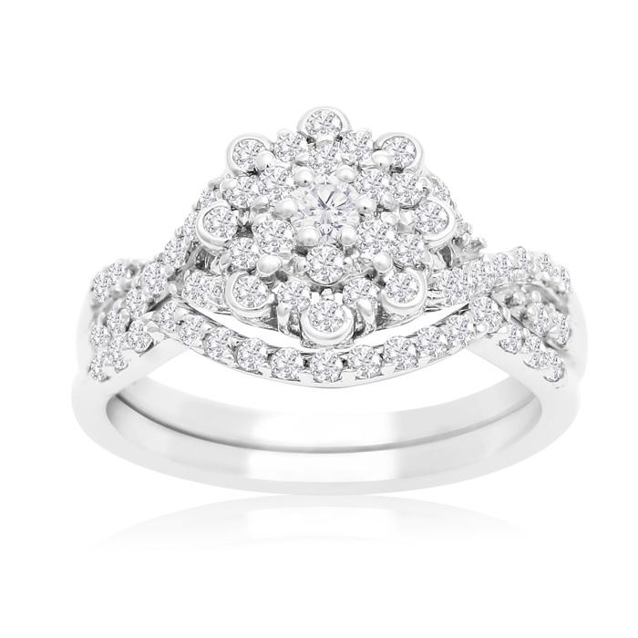 3/4 Carat Floral Halo Diamond Bridal Ring Set in 14K White Gold (3 g) (H-I, SI2-I1) by SuperJeweler