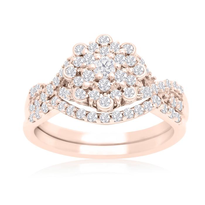 3/4 Carat Floral Halo Diamond Bridal Ring Set in 14K Rose Gold (3 g) (H-I, SI2-I1) by SuperJeweler