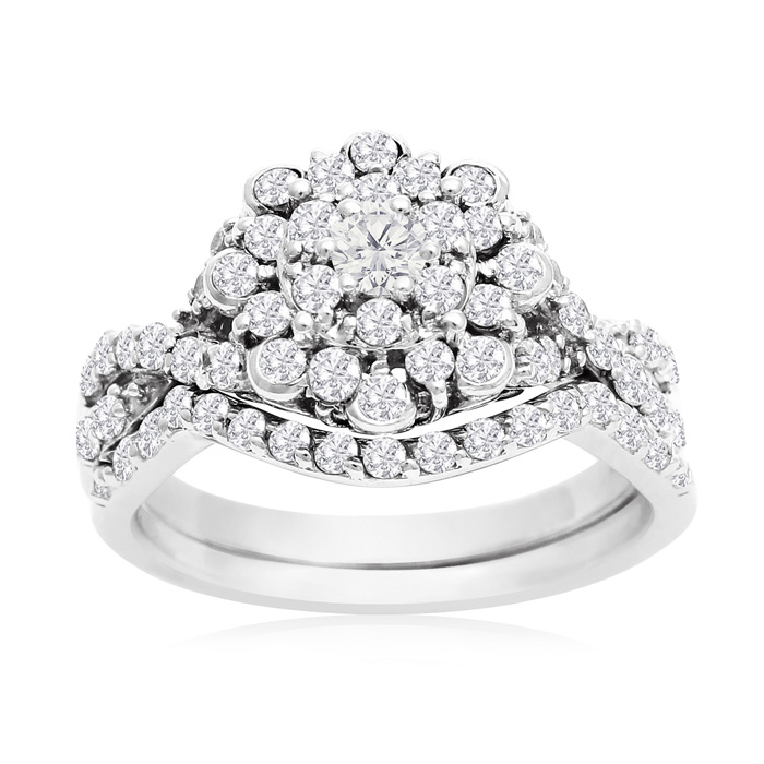1 Carat Floral Halo Diamond Bridal Ring Set in 14K White Gold (3.3 g) (H-I, SI2-I1) by SuperJeweler