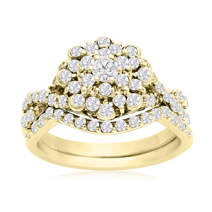 1 Carat Floral Halo Diamond Bridal Ring Set in 14K Yellow Gold (3.3 g) (H-I, SI2-I1) by SuperJeweler