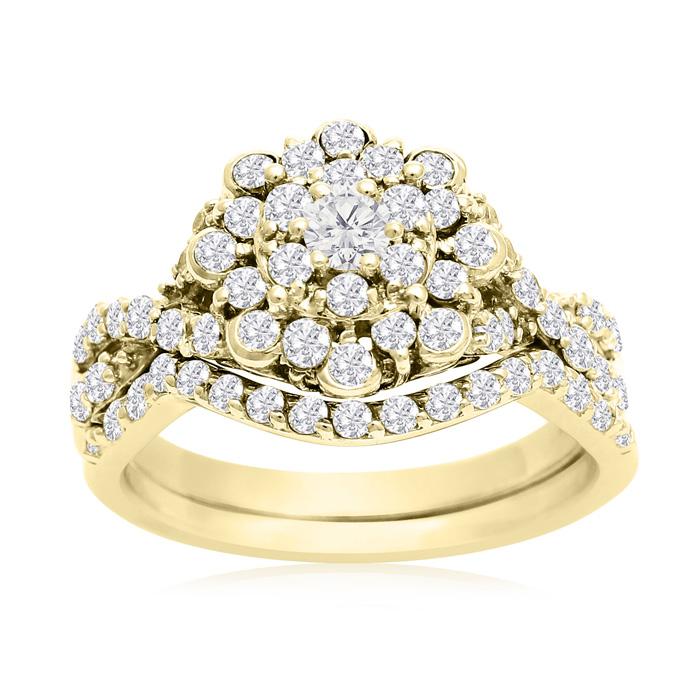1 Carat Floral Halo Diamond Bridal Ring Set in 14K Yellow Gold (3