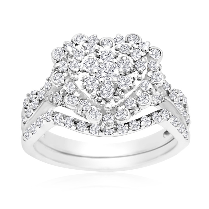 1 Carat Heart Halo Diamond Bridal Ring Set in 14K White Gold (3.6