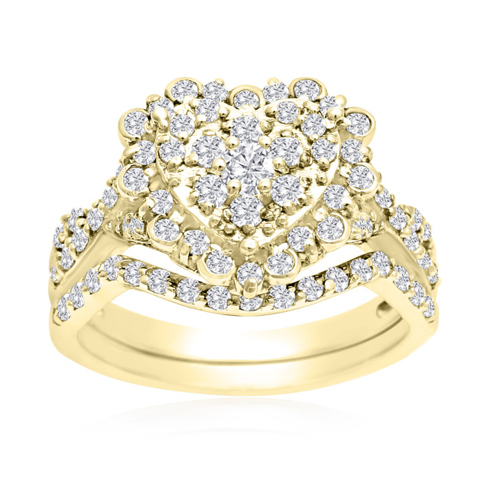 1 Carat Heart Halo Diamond Bridal Ring Set in 14K Yellow Gold (3.6 g) (H-I, SI2-I1) by SuperJeweler