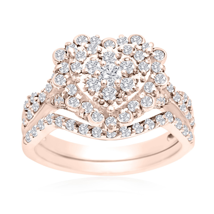 1 Carat Heart Halo Diamond Bridal Ring Set in 14K Rose Gold (3.6 g) (H-I, SI2-I1) by SuperJeweler