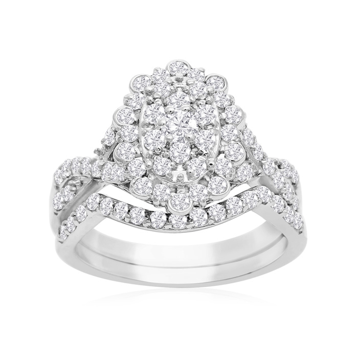 1 Carat Oval Halo Diamond Bridal Ring Set in 14K White Gold (3.5 g) (H-I, SI2-I1) by SuperJeweler