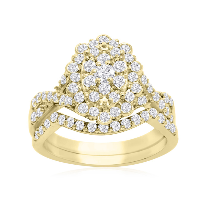 1 Carat Oval Halo Diamond Bridal Ring Set in 14K Yellow Gold (3.5 g) (H-I, SI2-I1) by SuperJeweler
